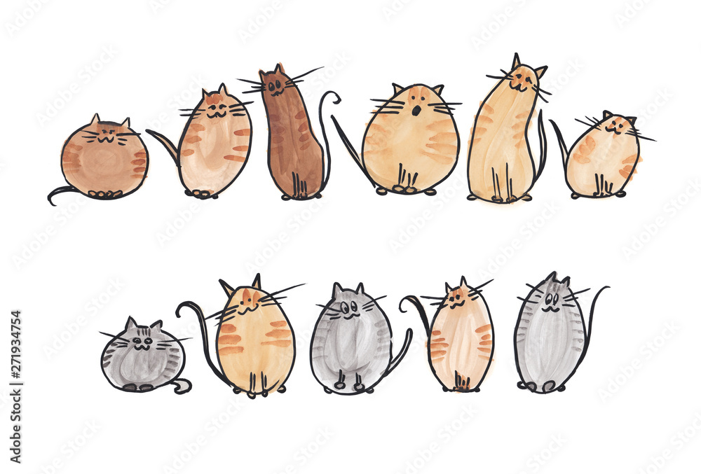 10 cute watercolor cats in 2 line on white background. Watercolor illustration <span>plik: #271934754 | autor: SharlottaU</span>