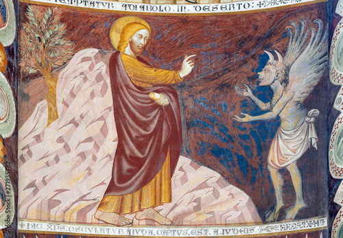 COMO, ITALY - MAY 9, 2015: The old fresco of Entry of Jesus to Jerusalem (Palm Sundy) in church Basilica di San Abbondio by unknown artist