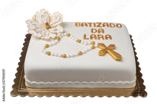 Cake for the baptism of the girl, Laura. With a gold cross. Canvas Print