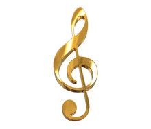 3D Render Of Gold Music Clef Symbol Isolated On White
