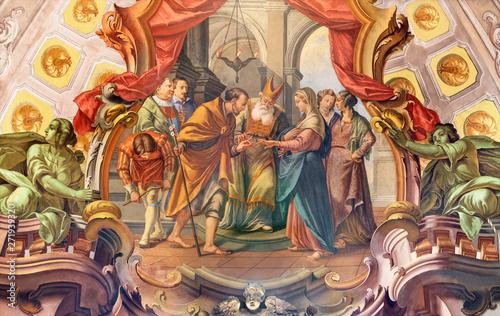 COMO, ITALY - MAY 8, 2015: The fresco of Wedding of St. Joseph and Virgin Mary fresco in church Santuario del Santissimo Crocifisso by Gersam Turri (1927-1929).