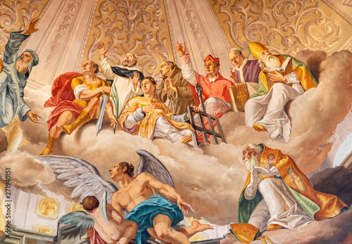 COMO, ITALY - MAY 8, 2015: The fresco of Glory of holy men as the part of Glory of Christ the King fresco in church Santuario del Santissimo Crocifisso by Gersam Turri (1927-1929).