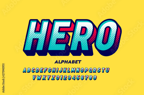 Cuadros en Lienzo Comics super hero style font, alphabet letters and numbers