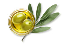 Delicious Big Green Olives In An Olive Oil With Leaves, Isolated On White Background, View From Above