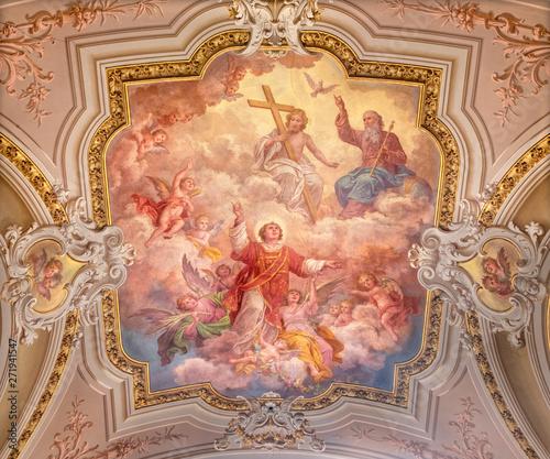 MENAGGIO, ITALY - MAY 8, 2015: The neobaroque ceiling fresco of Glory of St. Stephen in church chiesa di Santo Stefano by Luigi Tagliaferri (1841-1927).