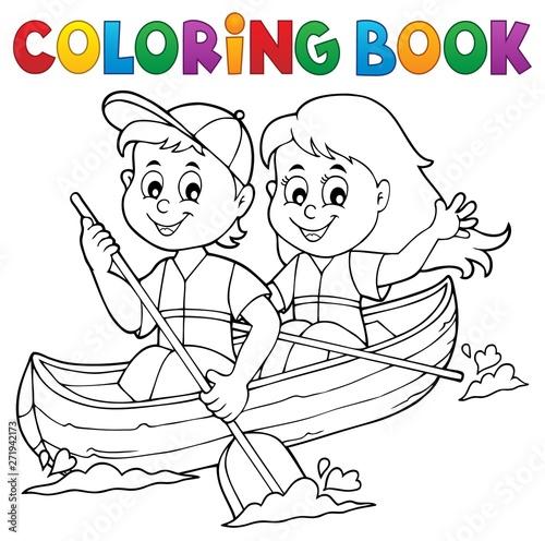 Fotobehang Voor kinderen Coloring book kids in boat theme 1