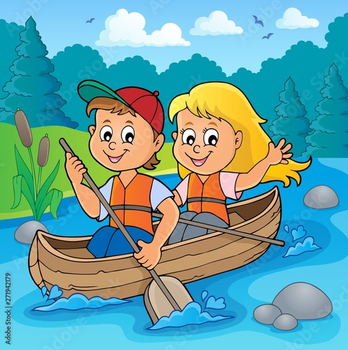 Wall Murals For Kids Kids in boat theme image 2