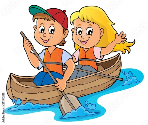 Wall Murals For Kids Kids in boat theme image 1