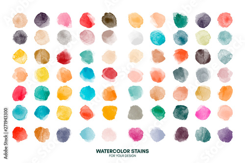 Leinwand Poster Set of colorful watercolor hand painted round shapes, stains, circles, blobs isolated on white