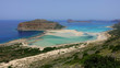 Panoramic view of iconic turquoise lagoon of Balos in North West Crete island, Greece