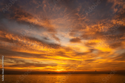 Garden Poster Sea sunset Colorful sunset above the sea. Summer vacation concept. Thailand
