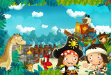 cartoon scene in the jungle near the sea on the stage and camp fire and pirate ship - illustration for children