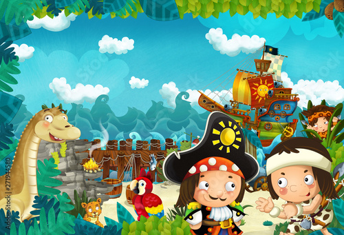 cartoon scene in the jungle near the sea on the stage and camp fire and pirate ship - illustration for children - 271944580