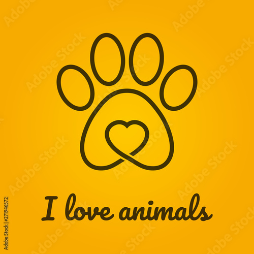 Photo Vector symbol line animal track with heart and text I Love animals