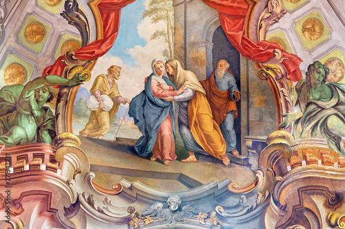 COMO, ITALY - MAY 8, 2015: The fresco of Visitation fresco in church Santuario del Santissimo Crocifisso by Gersam Turri (1927-1929).