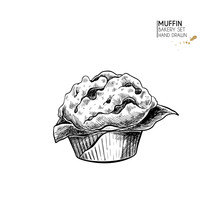 Bakery Set. Hand Drawn Isolated Muffin Or Cupcake. Breakfast Traditional Sweet Bakery. Vector Engraved Icon. For Restaurant And Cafe Menu, Baker Shop, Bread, Pasty, Sweets. Design Template.