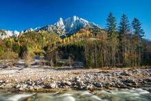 Grosser Odstein In Autumn, Johnsbach Stream In Front, Gesause National Park, Styria, Austria, Europe
