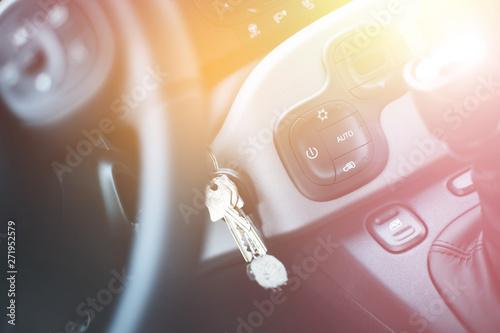 Sports car shift lever: Interior of a modern car