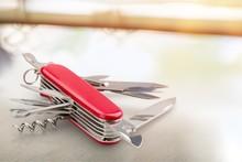 Multi-Tasking Metal Penknife Isolated On White