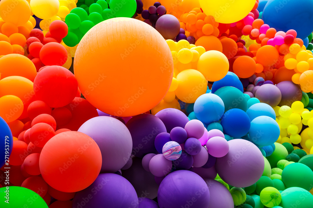 Fototapety, obrazy: Jumble of rainbow colored balloons celebrating gay pride in a textured background