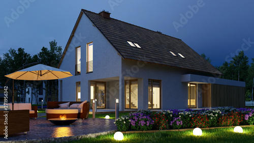 Obraz Round LED flare ball in the garden in front of house - fototapety do salonu
