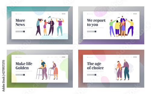 Fototapety, obrazy: Press Conference Mass Media Interview, Senior People Walking Website Landing Page Set, TV News Concept with Speaker and Journalists, Aged Couple Walk Web Page. Cartoon Flat Vector Illustration, Banner