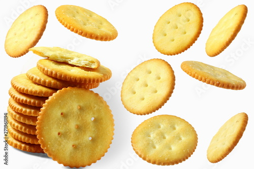 Top view of round salted snack cracker cookie isolated on white background Tapéta, Fotótapéta