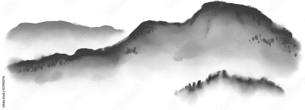 Fototapeta Imitation japan traditional sumi-e painting with mountain landscape.