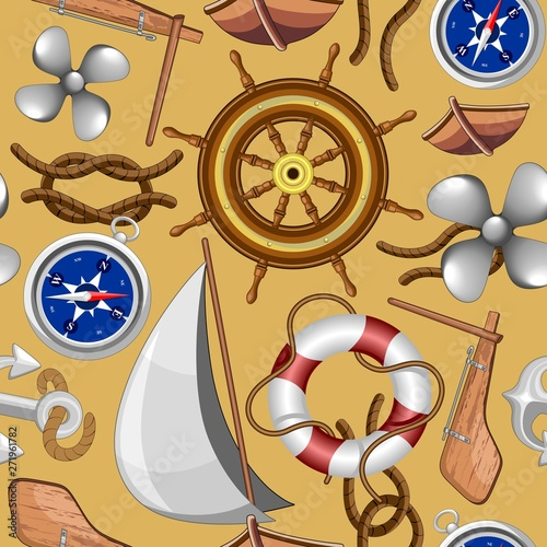 Foto op Aluminium Draw Nautical Marine and Navy Vector Seamless Pattern Textile Design