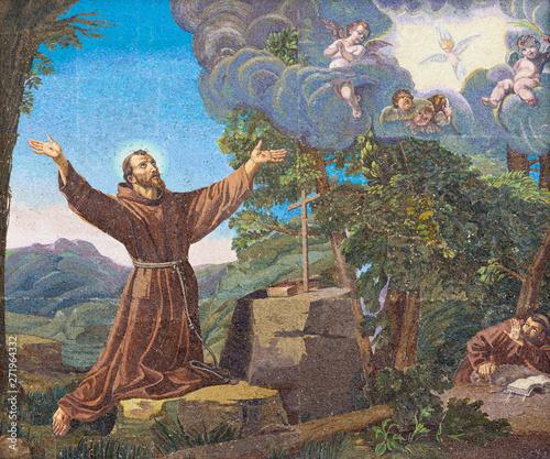 REGGIO EMILIA, ITALY - APRIL 12, 2018: The mosaic of Stigmatisation on the facade of chruch Chiesa di San Franceso (1942) Wallpaper Mural