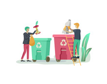 People Recycle Sort Organic Ga...