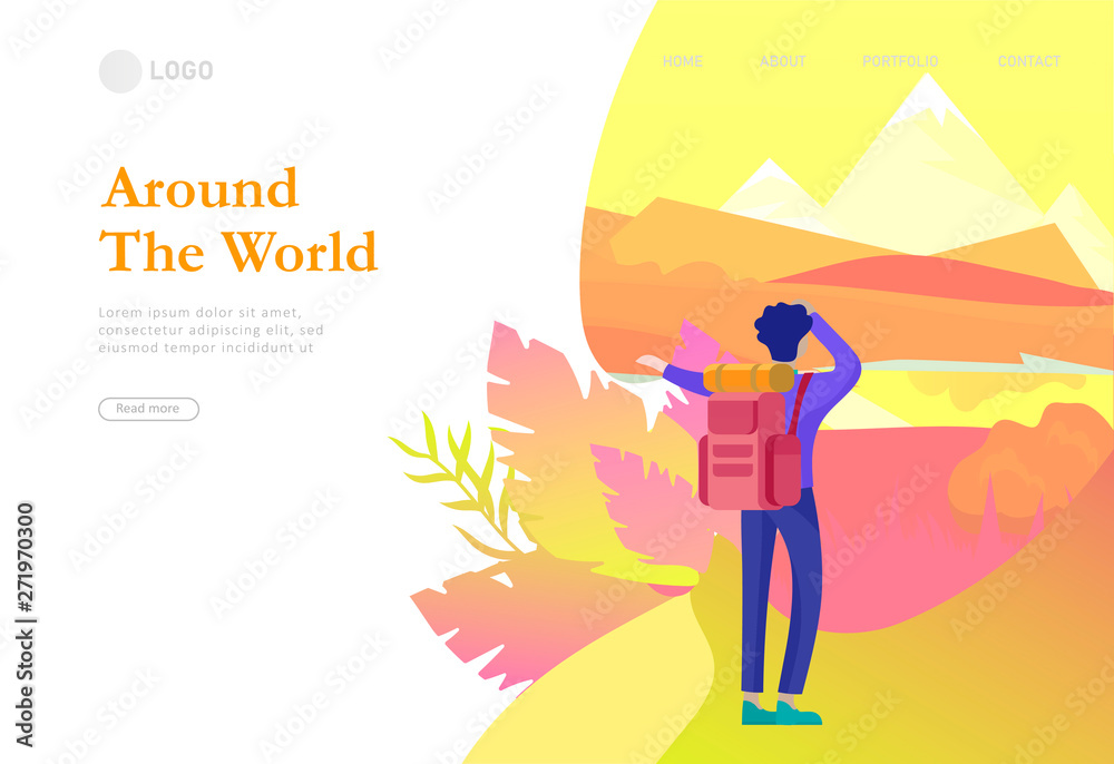 Fototapety, obrazy: landing page template. People characters woman for hiking and trekking, holiday travel vector, hiker and tourism illustration. Happy Tourists travelling. Vector cartoon style illustration