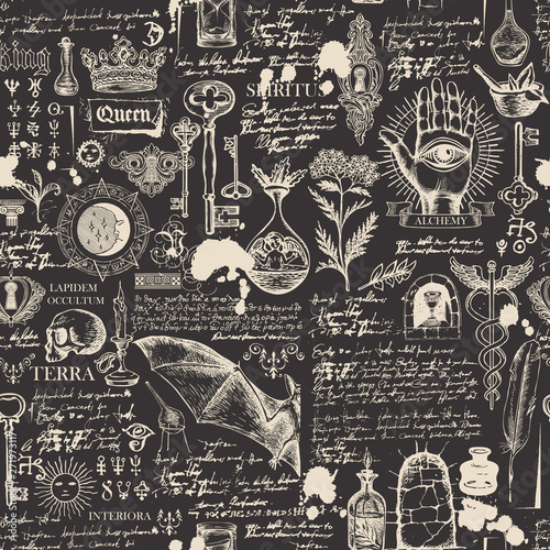 Photo  Vector seamless background on the theme of alchemy, magic, witchcraft and mysticism with various esoteric and occult symbols, sketches, blots