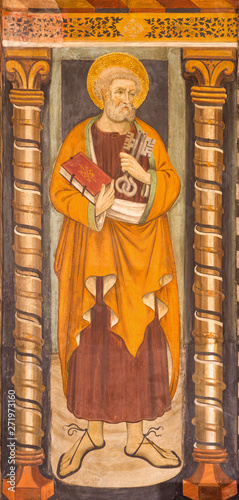 TURIN, ITALY - MARCH 14, 2017: The fresco of st. Peter the Apostle in church Chiesa di San Domenico and Capella delle Grazie by unknown artist of 16. cent.