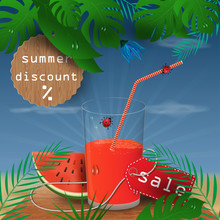 Background Illustration_14_on Tropical Leaf Background, Concept Design For Coupon, Ticket, Sale, Discount And Travel During Summer Vacation