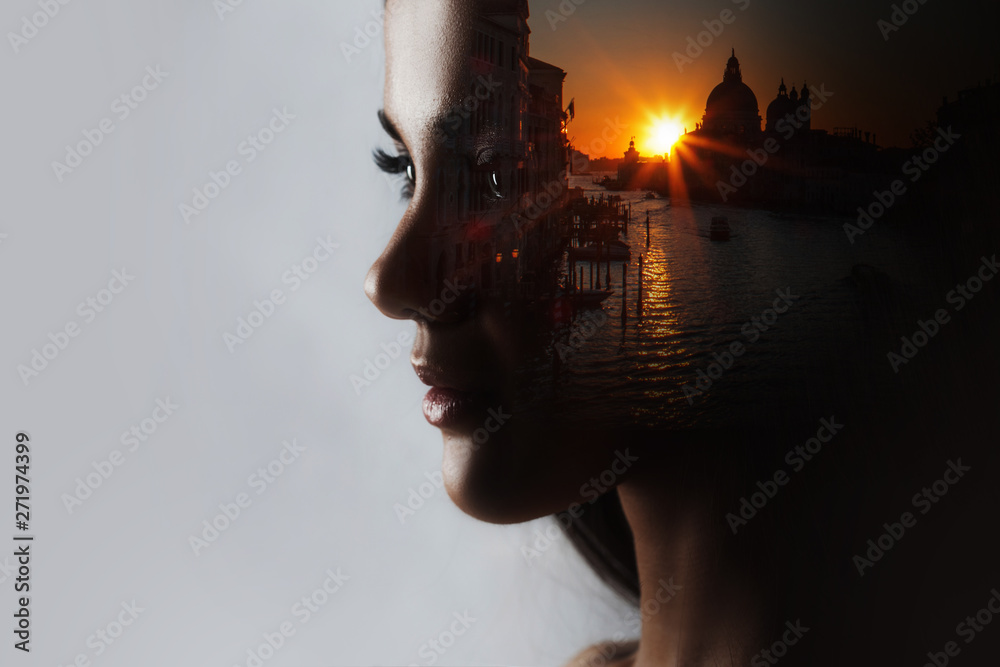 Fototapety, obrazy: Travel dreams, concept. The profile of the girl and the sunset in a beautiful location