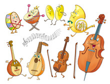 Funny Musical Instruments In Cartoon Style. Isolated On White Background.