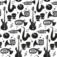 Seamless pattern with musical instruments on the white background.