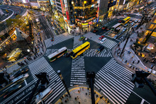 Aerial View Of Intersection In Ginza, Tokyo, Japan At Night.