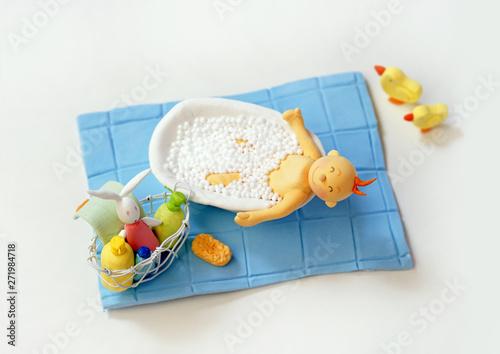 赤ちゃん ベビー 沐浴 クラフト オブジェ クレージュ Slika na platnu