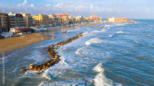 Aerial view of the coast of Anzio, a small sea town near Rome, in Italy Wallpaper Mural
