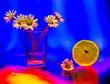Leinwandbild Motiv lemon daisies faceted glass flower background
