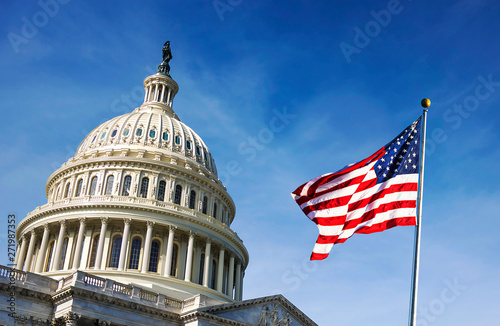 American flag waving with the Capitol Hill Wallpaper Mural