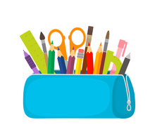 Bright School Pencil Case With Filling School Stationery Such As Pens, Pencils, Scissors, Ruler, Tassels. Concept Of September 1, Go To School. Flat Vector Illustration Isolated