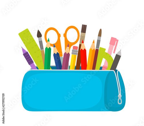 Photo Bright school pencil case with filling school stationery such as pens, pencils, scissors, ruler, tassels