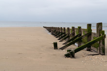 Wooden Wave Breakers Beach Poles On Beach In During Low Tide