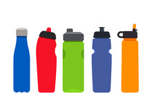 A Set Of Plastic Colored Bottles For Sports And Fitness. Silhouettes Of Aqua Mineral Water Containers. Flat Vector Illustration