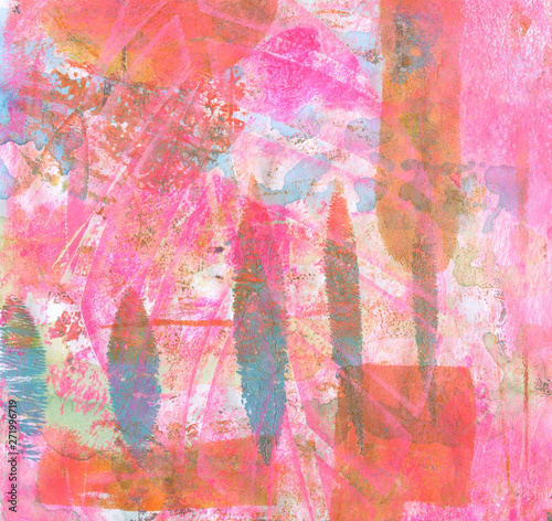 Abstract color acrylic and watercolor painting. Monotype template. Canvas texture background.