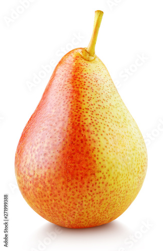 Ripe red yellow pear fruit stand isolated on white with clipping path
