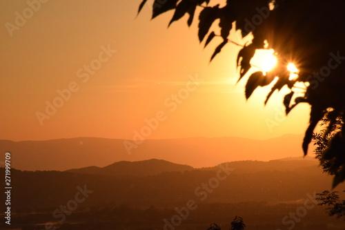Photo sur Toile Marron chocolat coucher de soleil